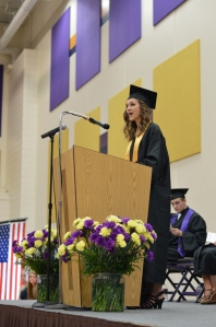Class salutatorian Emily Nelson speaks at the graduation ceremony.