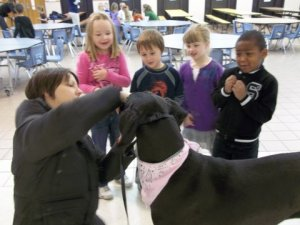 "Representatives from  Lodi Veterinary Care DeForest recently visited their ""adopted"" classroom, Kacy Carey's Kindergarten class at Yahara Elementary School.  Students pictured are: Natalie Towns, Nik Krogman, Evie Cockrum nad Ky'Andre Lewis"