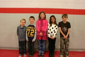 Winners (L-R) were:  Kindergarten - Lucas Tanner; 1st grade - Jacob Tutaj; 2nd grade - Emmy Rauls; 3rd grade - Alaina Lopez; 4th grade - Blake Edge