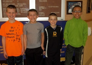 "Yahara Elementary School: Owen Chambers, Gabe Kennedy, Blake Olson, Caleb Ekezie.  Their team, ""The Boss Bookworms"", tied for 32nd."