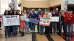 DASD Superintendent Dr. Sue Borden and host families welcome Thai students and their teacher at the Dane County Regional Airport on April 19.