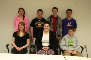 L-R: (front) Larrisa Veith, Zach Mettler, Nate Hill, Michael Sausen (back) Maddi Long-Perro, Haven Olson, Clayton Gotzion Not Pictured: Megan Aime, Jack Sergenian, Rebecca Sersch, Marvin Va, Dalton Van Schoyck