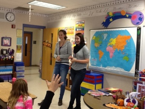 Students from Germany, Maria and Lara, talked with third and fourth graders in Mrs. Dederich's and Mrs. Egan's classes  The children learned the difference between school in Germany and school in Wisconsin.