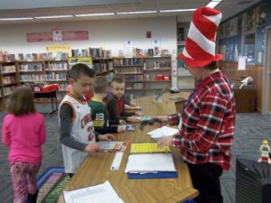 Students choose their Dr. Seuss books at YES.
