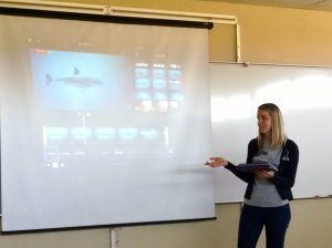 Family and Consumer Sciences teacher Brittany Vanderbilt demonstrates how to use iMovie to create multimedia projects.