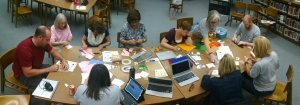 "Teachers and visitors from the DeForest Public Library learn how to ""sew"" circuits in the Maker Studio."