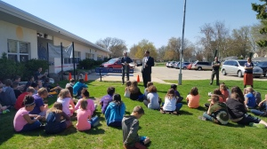 Representatives from Edward Jones gave an Arbor Day presentation to the 4th graders at Eagle Point.   They also gave each student a tree to take home and plant.