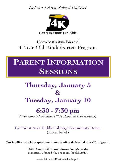 Parent Information Session poster
