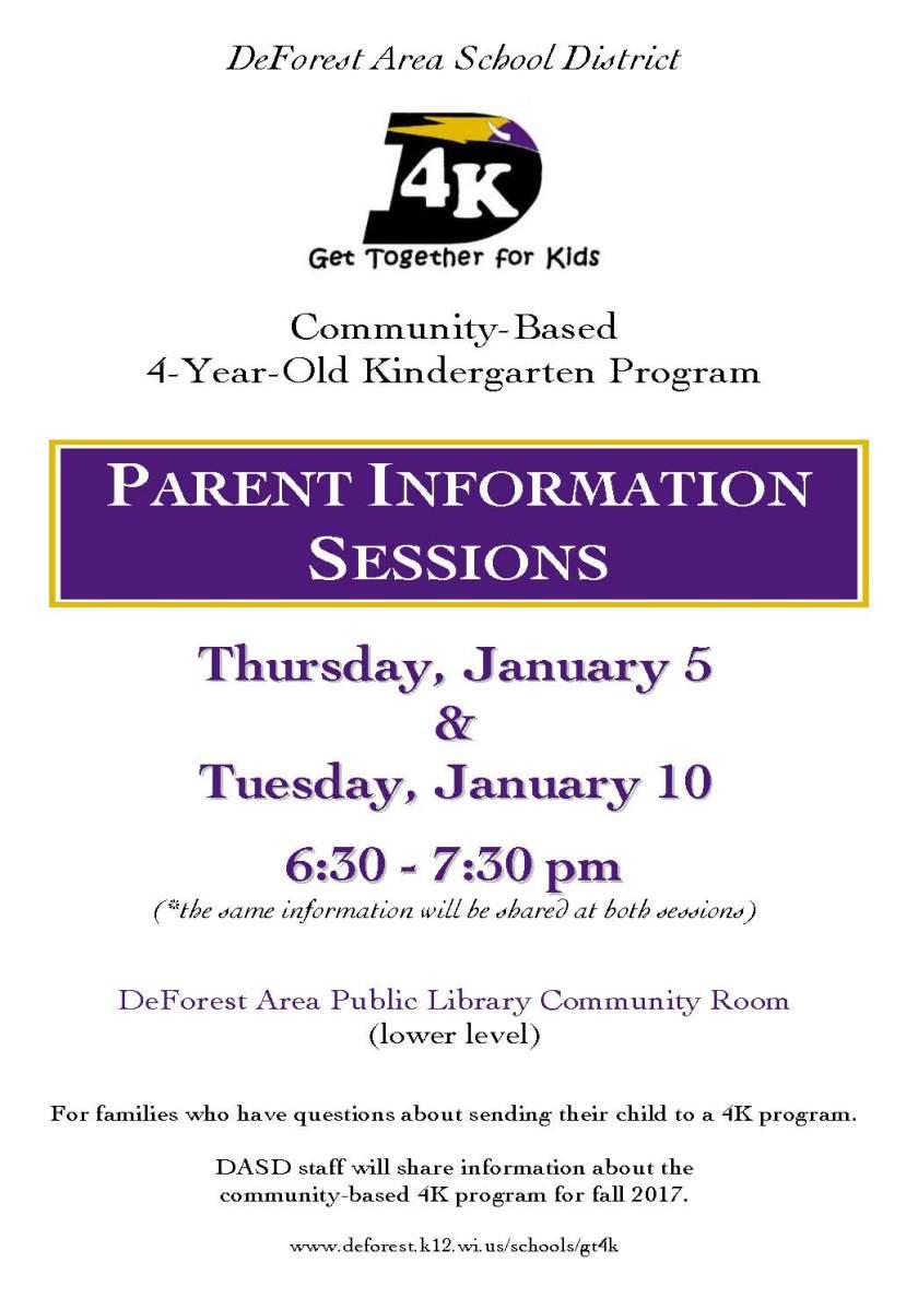 Parent Information Session poster