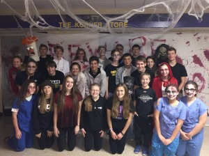 group of students at haunted house