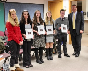 Jan Williams, student contest winners and Mike Esser
