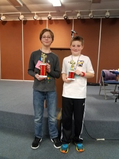 2017 DAMS Spelling Bee 1st and 2nd place winners Dugan Haselow and Ethan Prusakiewicz.