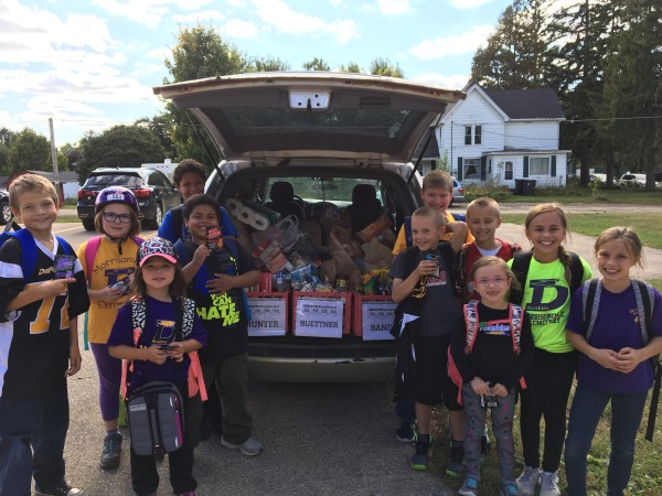 Morrisonville students with donated items