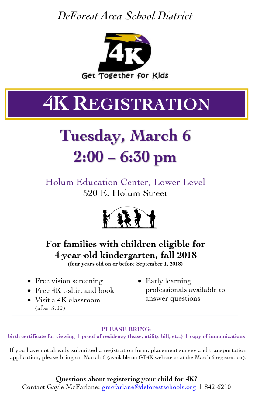 Poster for 4K Registration event on March 6