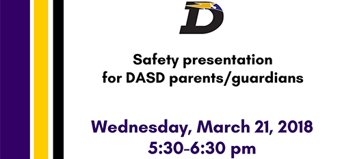 Safety presentation, March 21, 5:30-6:30 pm