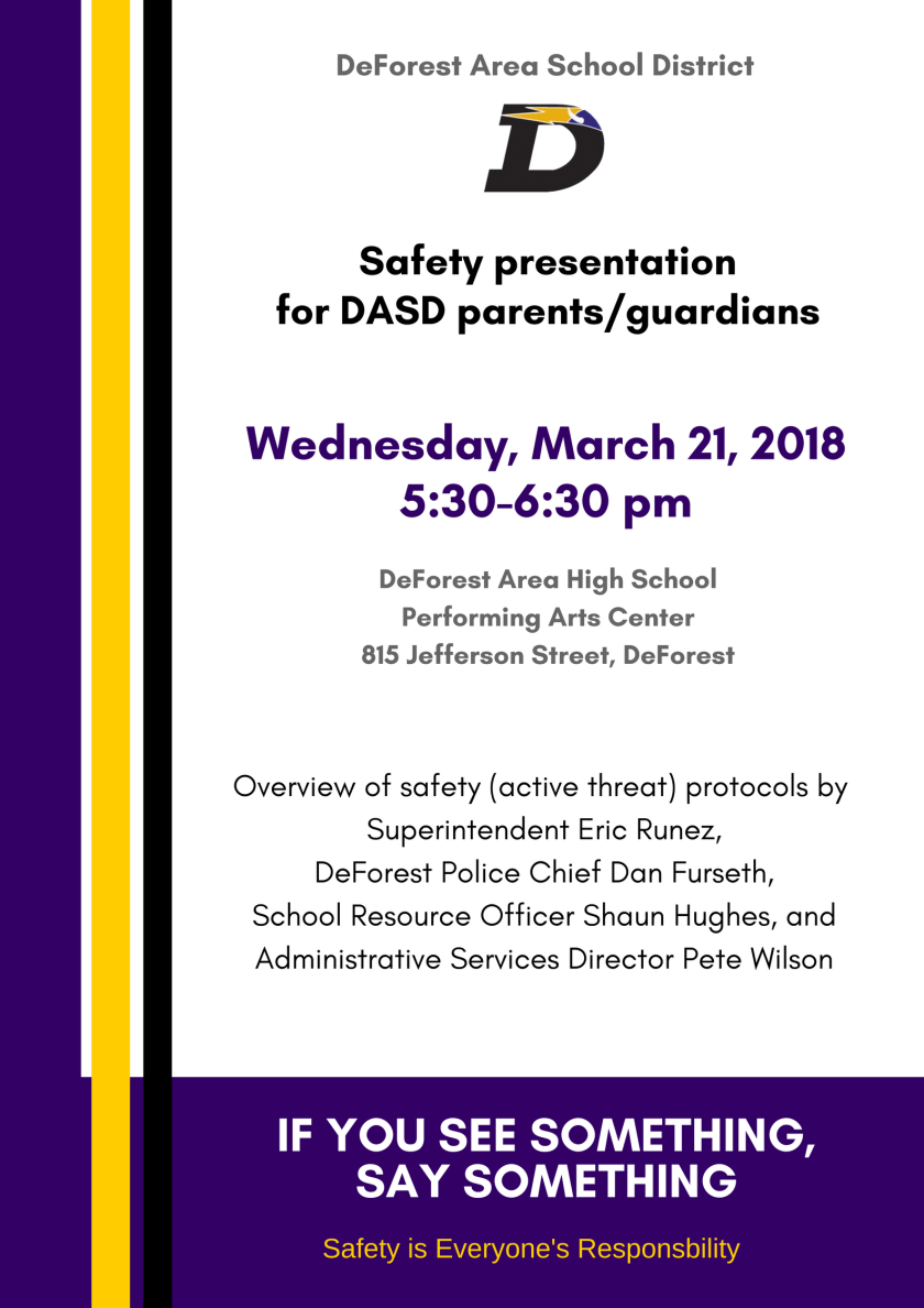 Poster for Safety presentation on March 21, 2018