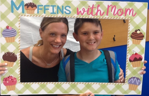 Mom and son in Muffins with Mom picture frame