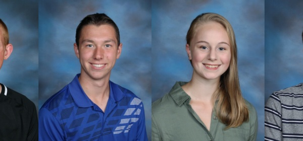 School photos for Adam Horton, Eliot Pickhardt, Taryn Shucha, and Noah Wohler